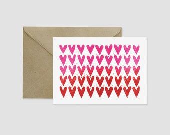 Ombre Hearts Block Print Love Friendship A7 Card