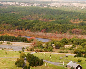 New England Series--View from Pilgrim Tower, Provincetown, Cape Cod Massachusetts 8x10 Color Photograph, Autumn Photo, Fall Leaves Print