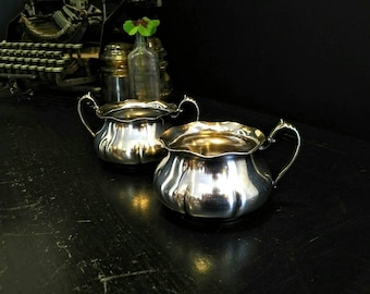 Antique Rogers Bros Silverplate Cream and Sugar Set