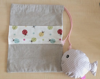 Or small child - pouch/bag in blanket - kids pouch with butterflies design