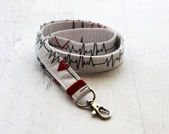 Medical lanyard - nurses lanyard - doctors lanyard - lanyard - fabric lanyard - neck lanyard - ID badge holder - key lanyard - heart print