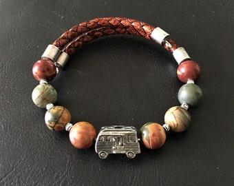 Class A Motorhome Bracelet, Red Snowflake Jasper Bracelet, Leather Bracelet, Motorhome Charm, Gift for RVer, Wrap Bracelet, 99019