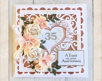 Coral 35th card etsy