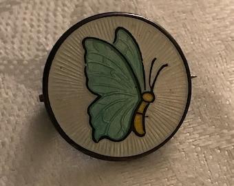 Antique Sterling & Enamel Pin Butterfly