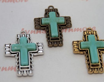 3 pcs per pack 40x28 mm Textures print Cross Pendant with Turquoise Antique Silver or Gold, or Bronze Lead Free Pewter