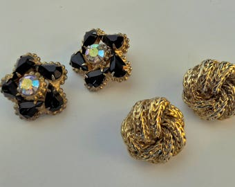2 Pairs of Vintage Earrings - Gold Tone & Black Rhinestone/Aurora Clip-ons