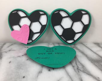 Valentines, Soccer Hearts of 12, Mini note cards, Valentines Day, Classroom Valentines, School Valentines, Preschool Valentines