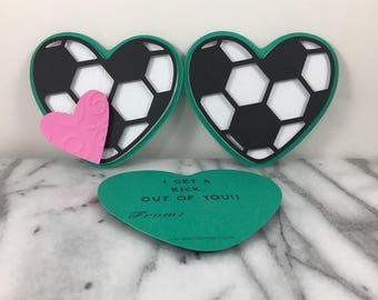 Valentines, Fußball-Herzen von 12, Mini Grußkarten, Valentinstag, Klassenzimmer Valentines, Schule Valentines, Kita Valentines