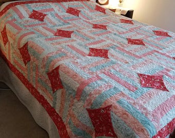 Cathedral Window Queen Size Handmade Quilt