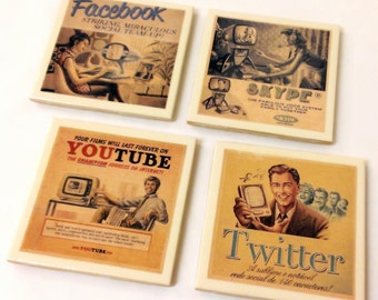 Social Media Coasters - Set of 4 - Vintage