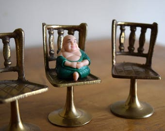 Three Vintage Brass Dollhouse Chairs - Miniatures, Mid Centruy, Boho