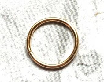 24K Gold Hoop, 20, 22 Gauge, 24K Gold Nose Ring, 24K Gold Cartilage Earring, 6mm, 7mm, 8mm, 9mm, 10mm, 11mm, 12mm, 24K Gold Hoop Earring