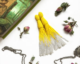 Yellow tassel earrings Beaded tassel earrings Silver beaded tassel Fringe earrings Wedding earrings Bridesmaid earrings Boho earrings