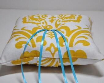 Yellow Damask Ring Bearer Pillow