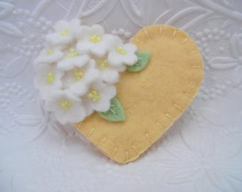 Felt Flower Brooch Yellow Beaded Pin Heart Wool  Flowers