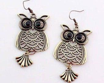 Antique Brass Owl Earrings