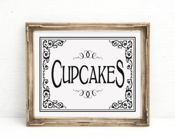 CUPCAKES Wedding Sign | PRINTABLE Wedding, Dessert bar sign, Cupcake Bar Decor, Black White Wedding Signage, Cupcakes Sign, Wedding Decor