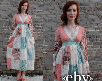 Hippie Dress Hippy Dress Boho Dress Festival Dress Vintage 70s Maxi Patchwork Maxi Dress XS S Patchwork Dress