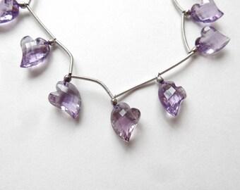 Sparkly Amethyst Faceted Fancy Asymmetrical Heart Briolette Drop ONE Bead N3339