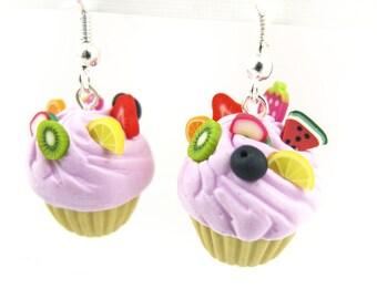 Pair of cupcake earrings muffins