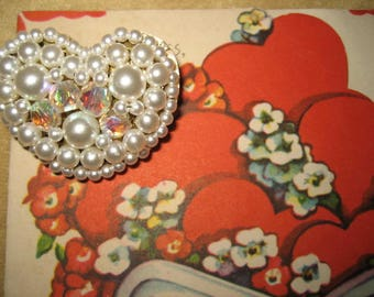 50s Pearl and Crystal Heart Brooch Pin Vintage
