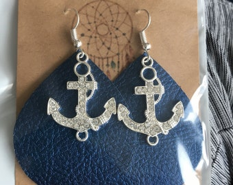 Navy Anchor Tear Drop Earrings