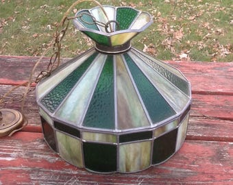 Vintage, Retro, Slagged Glass, Stained Glass, Hanging Light Fixture