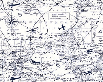 """Premier Prints Cotton Fabric  Air Traffic Navy and white or Felix Blue Natural  54"""" wide-Fabric By The yard decorator fabric FAST SHIPPING"""