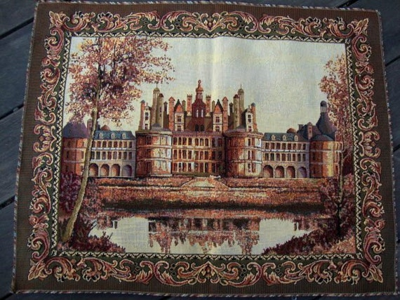 Romantic russian tapestry fabric vintage paris castle wall hanging pillow cushion ottoman upholstery french tapestry french decor 134 from annasdream on