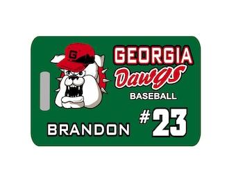 Baseball Luggage Tag - Mascot, Baseball Tag, Baseball Bag Tag, Team Tag, Personalized Luggage Tag, Baseball