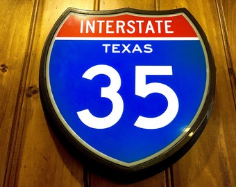 Highway Interstate Texas 35 Light Up Lighted Retro Sign 9 Themes to Choose From or Customise
