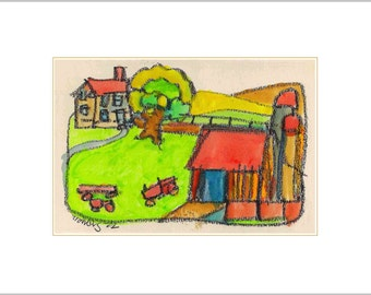 Whimsical Fine Art - Rural New York State Dairy Farm Limited Edition Print - Colorful Stylized Affordable Wall Decor
