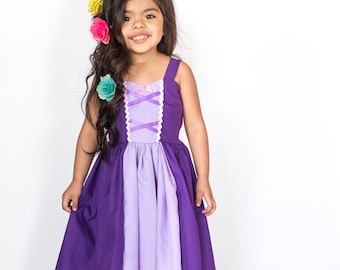 RAPUNZEL dress, princess dress, Rapunzel Costume, Rapunzel Birthday Outfit, vacation princess dress for toddler dress girls, summer dress