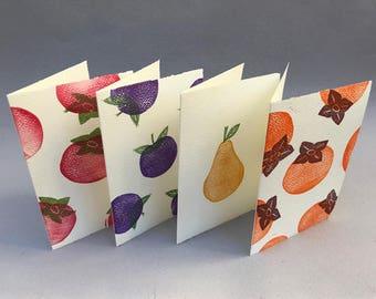 Bountiful Fruits—Blockprinted Cards
