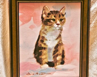 Original Pink Kitten Original Painting signed by Dave Butler 10 inches by 16 inches Framed
