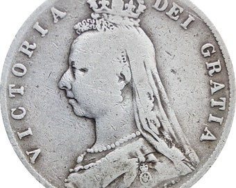 1889 Great Britain Victoria Silver Half Crown Coin