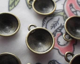 Antiqued Brass Cast Rivoli 12mm Round Settings One Loop 8 Pcs