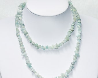 Very Long Natural Pale Green Blue Aventurine Nuggets Chip Beads Necklace Vintage