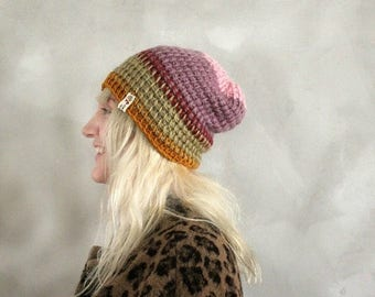 Sale Skull Cap Beanie / Orange Pink Purple Hat / Slouchy Beanie / Slouchy Hat / Womens Slouchy Beanie / Gift for Girlfriend / Gift for her /