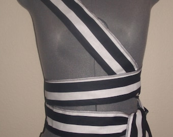 "New black and white cotton/poly SCA renaissance pirate sash costume costumes 134"" by 3"""