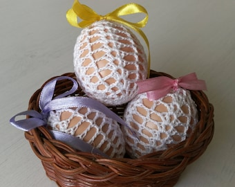 SET OF 3 Croched Easter Egg
