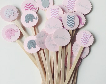 Baby Shower Drink Stirrers or Toothpicks - Baby Girl or Baby Boy - With Design & Calligraphy - Set of 20
