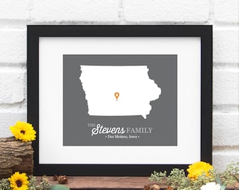 Iowa State Map, State Map Art Print, Personalized New Family Gift, Wedding Gift, US State Map Anniversary Gift, Relocation -  Art Print