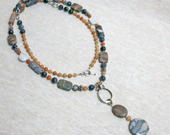 Natural Stone Necklace - Long Beaded Necklace - Dangle Pendant - Picasso Jasper - Canyon Marble - Orange Stone - Great Gift - Ethnic