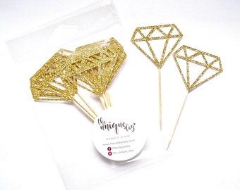 Gold Glitter Diamond Cupcake  Toppers