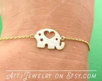 Baby Elephant Shaped Charm Bracelet in Gold    Simple Minimalistic Handmade Animal Jewelry