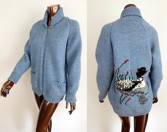 Vintage Cowichan Sweater - Blue Wool Shawl Collar DUCK Cardigan - Full Zip Sweatercoat