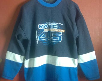 Vintage 90s Sweatshirt Printed Sweatshirt  Big Logo SportsActivewear M
