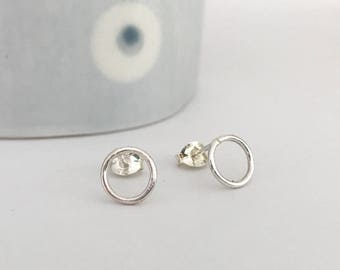 Circle stud earrings in polished finish loop earrings