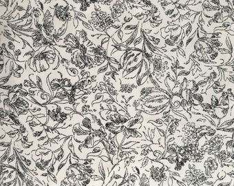 Black/Off-White Vintage Style Rayon Fabric by the Yard, Rayon Crepe Fabric Yardage, Fabric by the Yard